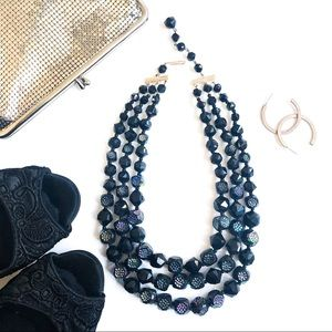 West Germany 3 Strand Iridescent Faceted Necklace